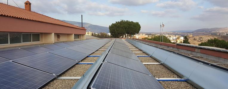 panneaux solaires du lycée franco-libanais Habbouche Nabatieh