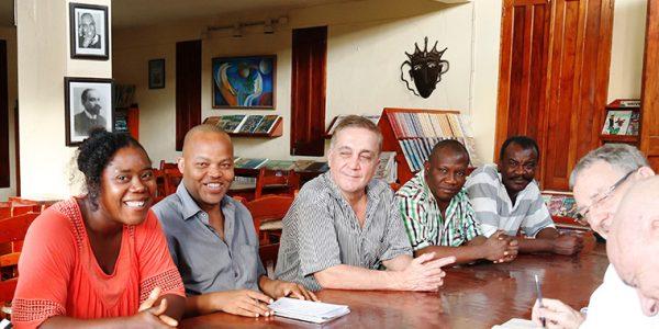 Jean-Yves Bourcier (au centre), Centre Albiciade-Pommayrac, Jacmel, Haïti, février 2018