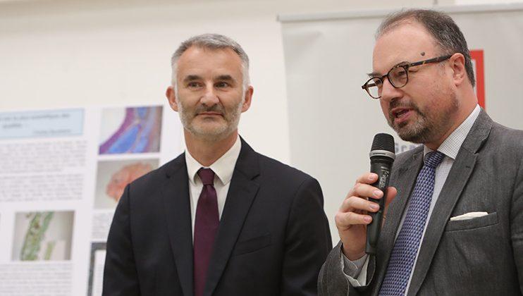 Brice Léthier, proviseur et le Conseiller d'action culturelle adjoint