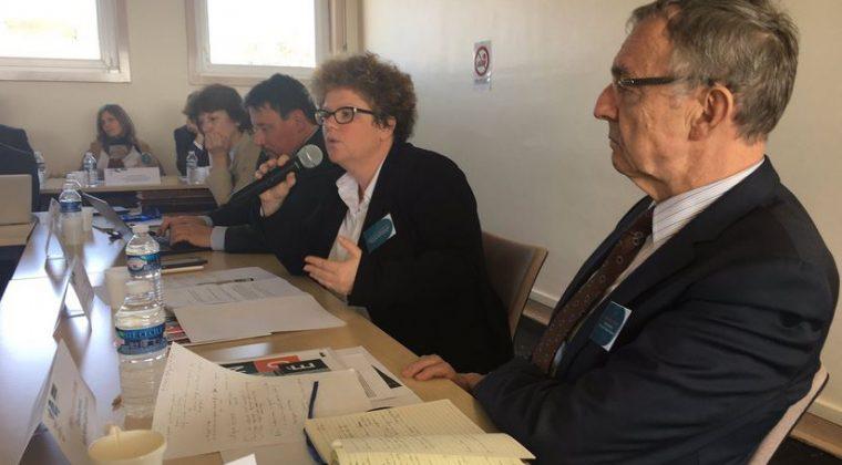 Au micro, Frédérique Alexandre-Bailly, rectrice de l'académie de Dijon, chancelière des universités.  Au premier plan, Jean-Christophe Deberre, directeur général Mlf-OSUI