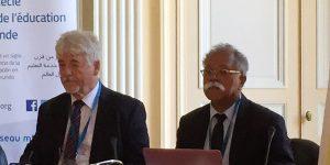 Gilbert Pietryk et Francis Alin lors de la journée d'accueil des personnels Mlf-Aflec, Paris, le 8 juillet 2017 Francis Alin, secrétaire géné Journée Golfe Egypte, Mlf et Aflec, 8 juillet 2017