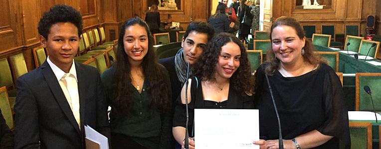 Raphaël, Zahra, Omar, Sofia et Claire Beaumont, Académie française, mars 2019