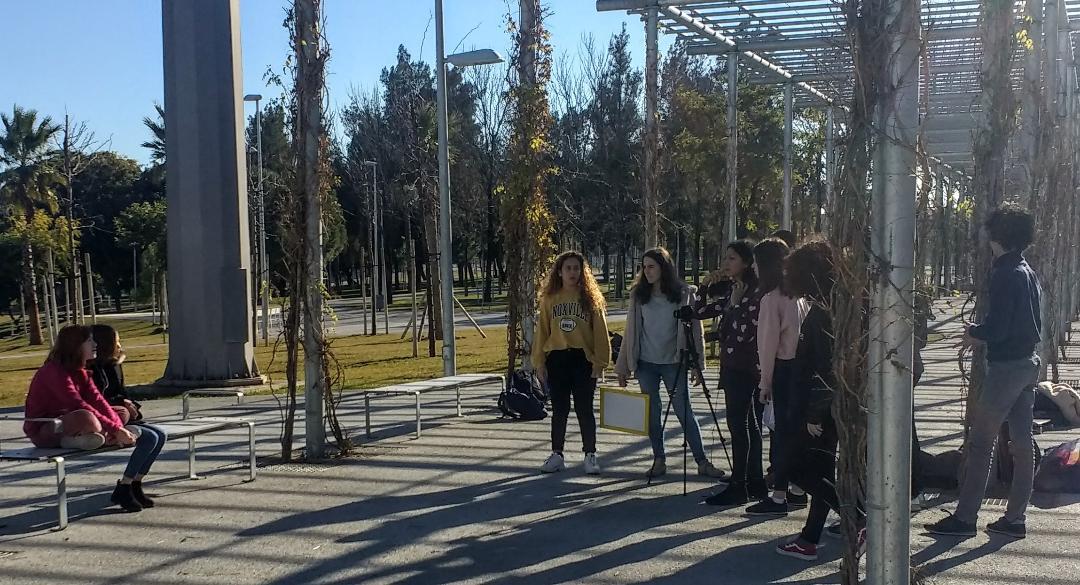 tournage du clip Non au harcèlement, lycée français de Séville, 2019